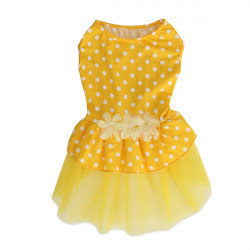 Summer Dog Dress Skirt Puppy Princess Dress Yellow Dot Lace Pet Dog Skirt