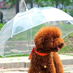 Gennemsigtig Vandtæt Kæledyr Umbrella Regnfrakke med Snor