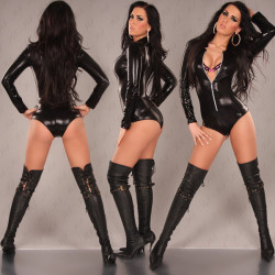 Black Patent Leather Long Sleeve Siamese Sexy Body Suits For Women
