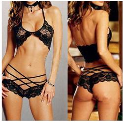 Hot Spets Sexiga kvinno Antyder Babydoll Underkläder BH Thongs