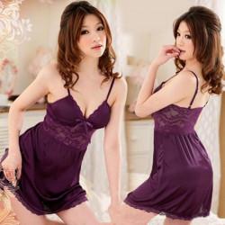 Lila Bomull Sexig Teddy damer klänning Sovplagg Intim damunderkläder