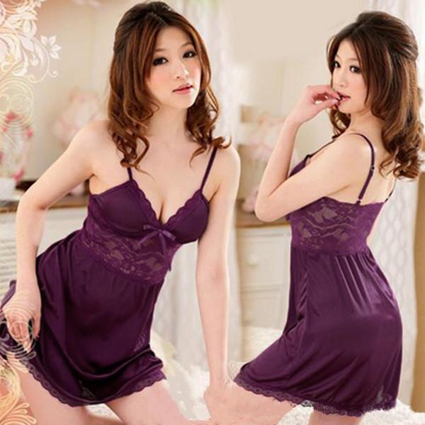 Lila Bomull Sexig Teddy damer klänning Sovplagg Intim damunderkläder Sexiga Damunderkläder