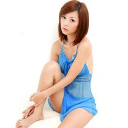 Sexig Blå Lace Transparent Strap Lady Underkläder