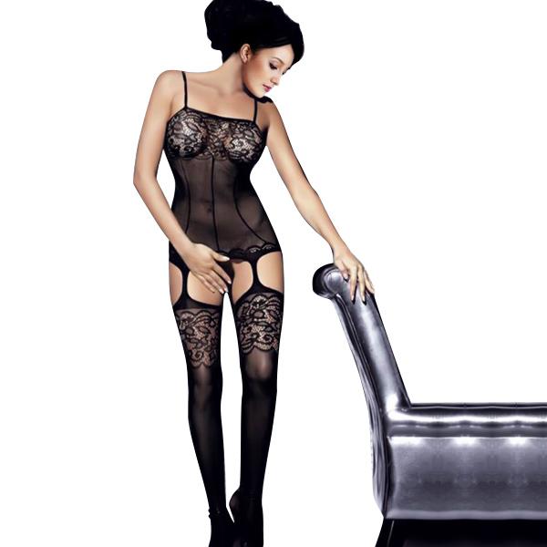 Sexigt snöra åt Black Neck Fishnet Kvinnor Body Stocking