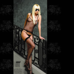 Sexy Strap Schwarz Fischnetz feste Frauen Bodystocking Lingerie