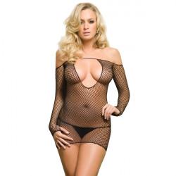 Sexy Frauen Tief V Fischnetz geöffnete Gabelung Body Stocking