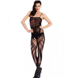 Sexy Womens Black ouvert Bodystocking Suspender Bodysuit