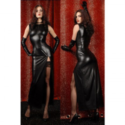 Women PU Leather Bodycon Sexy Tight Dress Lingerie