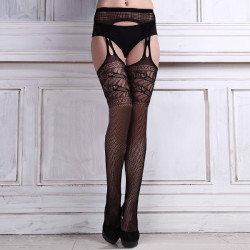 Women Sexy Lace Lingerie Crotchless Top Stocking With Garter