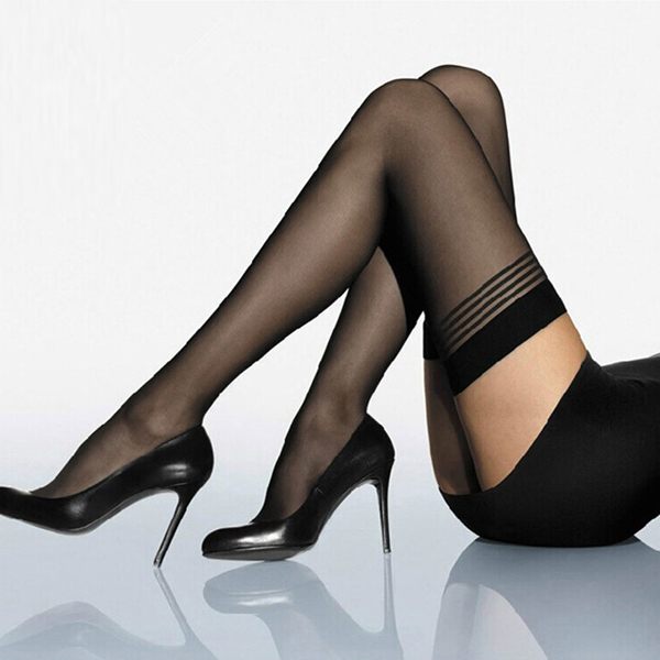 Womens Black Stripe Sexy Stockings Pantyhose Stockings & Garters