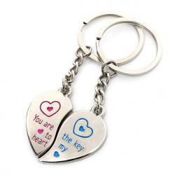 1 Par Kärlek Hjärta Par Rostfritt Stål Nyckelring Ringar Lover Gifts