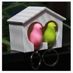 Birdhouse Whistle Couple Bird Sparrow Nest Nøglering Holder Wall Hook