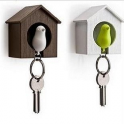 Birdhouse Whistle Plast Fågel Sparrow Nest Nyckelring Holder Wall Hook