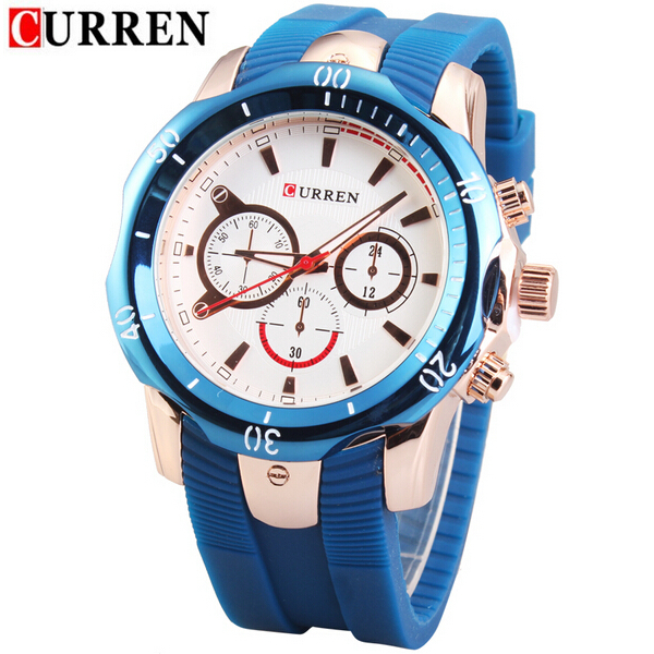 CURREN 8163 Vintage Silicone Waterproof Quartz Sport Watch Gym & Hiking Watch