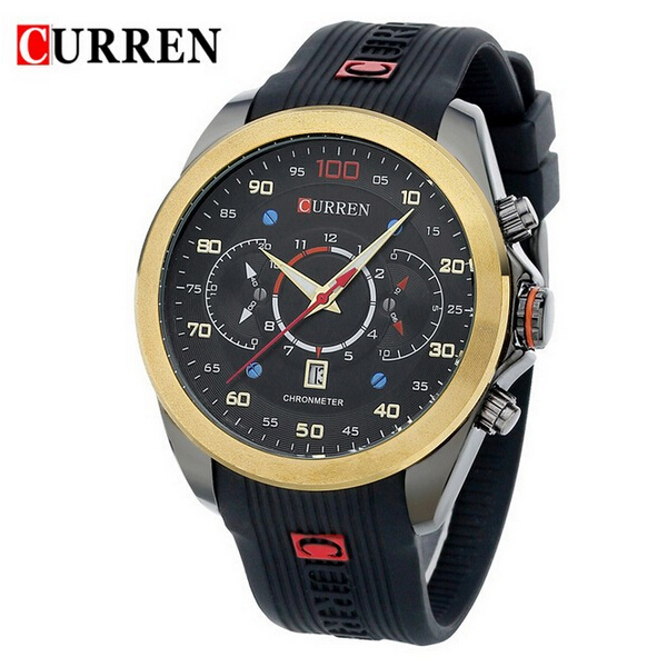 CURREN 8166 Gold Black Blue Silicone Waterproof Quartz Sport Watch Gym & Hiking Watch