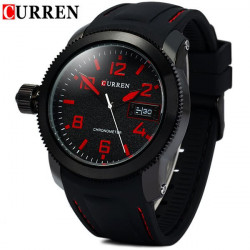 CURREN 8173 Blue Black White Silicone Waterproof Analog Watch