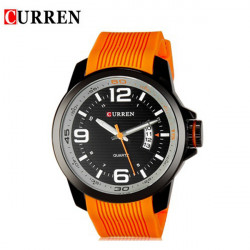 CURREN 8174 Blå Sort Orange Silikone Vandtæt Quqrtz Watch