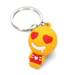 Cute Cartoon QQ Expression Nøgle Kæde Vedhæng Metal Nøglering