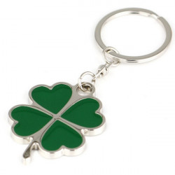 Green Lucky Four Leaf Clover Keychain Metal Key Ring Gift