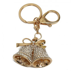 Lovely Rhinestone Double Jingle Bells Alloy Key Chain Key Ring