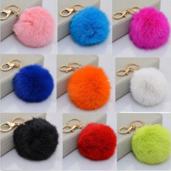 Multicolor Rabbit Fur Ball Plush Key Chain For Handbag Phone Pendant