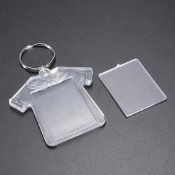Plast Tee Blank Insert Foto Bild Keychain Frame Nyckelring