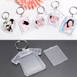 Plastic Transparent Blank Insert Photo Picture Keychain Frame Keyring