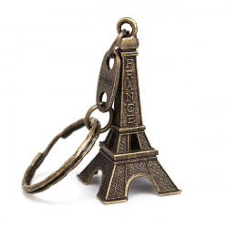 Retro Personlig Eiffeltårnet Metal Cute Nøglering Bronze Gold