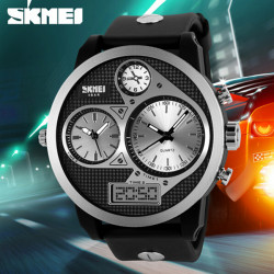SKMEI 1033 PU Band LED Digital Waterproof Analog Quartz Watch