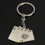 Silber Kreative Poker Quetscher Spielkarte Legierung Schlüsselanhänger Schlüsselanhänger Schlüsselanhänger