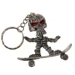 Skateboard Skull Rubber Key Chain Creative Purse Bag Keyring