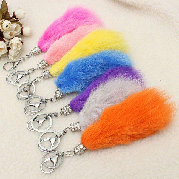 Tassel Plush Fox Fur Tail Nyckelring Rhinestone Nyckelring Väska Hängande Nyckelringar