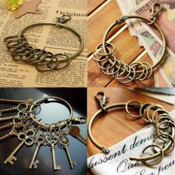 Vintage Bronze Alloy Lobster Clasp Key Ring Big Circle Hook Key Chain