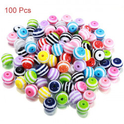 100Pcs Mixed Color Stripe Resin Beads DIY Bracelet Necklace Jewelry