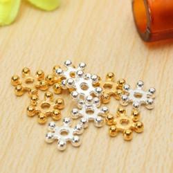 100stk Sølv Guld 6mm Daisy Flower Spacer Beads DIY Smykker Resultater