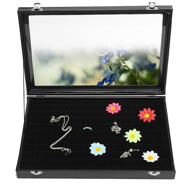 100 Slots Glass Lid Black Ring Storage Display Jewelry Tray Showcase Jewelry Supplies