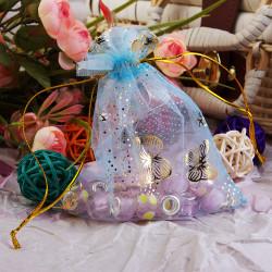 100pcs Blue Organza Pouch Jewellery Wedding Gift Bag 10X12cm