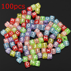 100pcs Loom Rubber Band Letter Alphabet Beads DIY Craft Bracelet