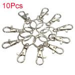 10st Silverpläterad Karbinlås Nyckelring Karbinhake DIY Smycken Smyckestillverkning & Reparation