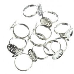 10Pcs 15mm DIY Silver Plated Adjustable Ring Blanks Pad Bases