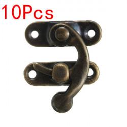 10st Antik Brons Metall Box Latch Hooks Låsspärren Knäppen