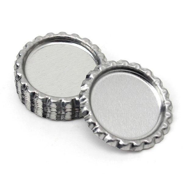10er Silber Metallische Flach Kronkorken Zeit gem Cap DIY Schmucksache Fertigkeit Schmuckherstellung & Reperatur