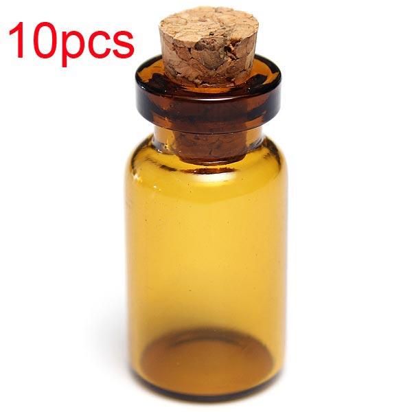 10stk Mini Brown wünschen Nachricht Glasflaschen Flaschen mit Holz Kork Schmuckherstellung & Reperatur
