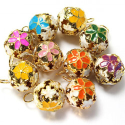 10pcs Mixed Color Metal Flower Jingle Bell Christmas Tinkle Bell Craft