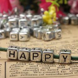200pcs 6mm Silver Acrylic Letter Alphabet Beads DIY Craft Bracelet