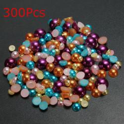 300stk gemischte Größe Bunte halb runde Flatback Perle DIY Dekoration