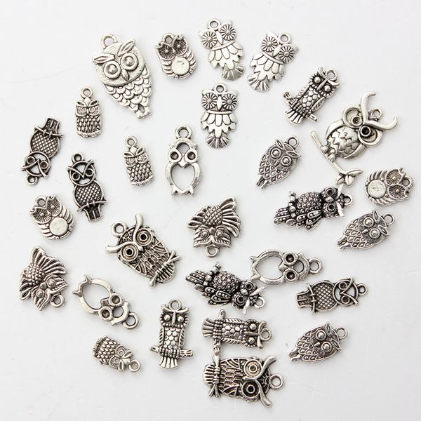 30stk Blandet Vintage Tibetansk Sølv Ugle Halskæde Vedhæng Charm DIY Smykkefremstilling & Reparere