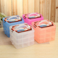 3 Lager Craft Tillbehör Gummiband Plast Smycken Förvaringsbox