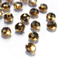 50Pcs 6mm Gold Plated Crystal Glass Loose Beads Bracelet DIY Jewelry