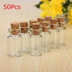 50stk Clear Tøm Cork Wishing Glasflasker Hætteglas til Gaver